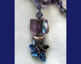 Wire Wrapped Rainbow Gemstones Pendant- Talisman Amulet Wearable Art Fluorite Cube Titanium Quartz Freshwater Pearls Iolite Amethyst