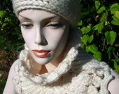 Crochet hat and cowl set - ready to ship
