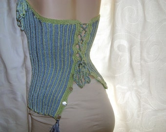 Flirty stripes - Crocheted corset-laced halter top - ready to ship