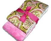 Trendy Burp Cloth Set of 2 -Lime Star Paisley and Plush Pink Minky Dots