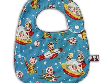 Baby Bib -Reversible- Retro Rockets and Minky Dot