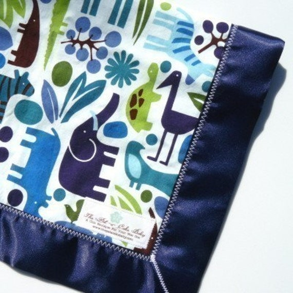 Lovey Blanket in Blue Zoo with White Minky Dot and Navy Satin