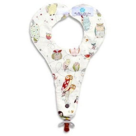 Spotted Owl Pacifier Bib Reversible Cream Minky By