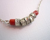 Coral and Silver Pendant on Sterling Silver Chain