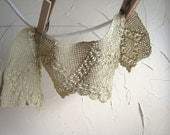 Vintage Crocheted Lace Soft Green Trim Natural Hand Dyed Cotton Circa 1940