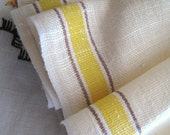 2 Vintage Homespun Linen Tea Towels 1940 Yellow Brown Side Band Light Oatmeal Linen For the Kitchen