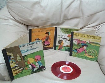 set of vintage children books with records