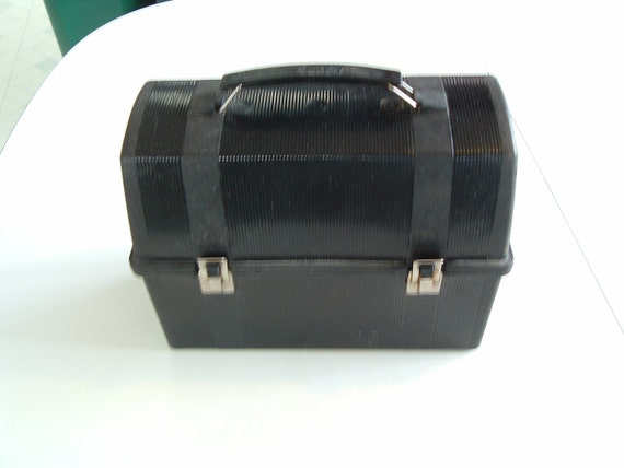 Vintage Black Plastic Aladdin Lunch Box By