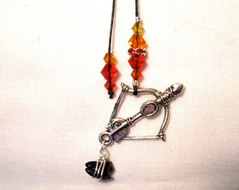 Hunger Games Inspired Bookmark -  Katniss Bow And Arrow with Coal