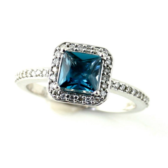 blue topaz ring topaz engagement ring princess by