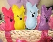 4 peeps bunny candy plushies set. screaming or regular