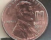ACEO - Sept 11 2011 Twin Towers Memorial  Lincoln Cent 9-11 LTD Edition Penny Coin