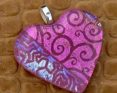 Pink Dichroic Heart Pendant Fused Glass Jewelry