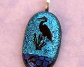 Etched Heron Turquoise Dichroic Pendant Fused Glass Jewelry