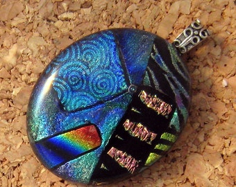 Fused Glass Pendant - Dichroic Pendant - Dichroic Jewelry - Fused Glass Jewelry - Blue Dichroic Pendant