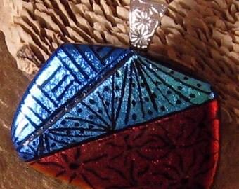 Dichroic Pendant - Zen Tangle Pendant - Fused Glass Pendant - Dichroic Jewelry - Dichroic Necklace - Fused Glass Necklace