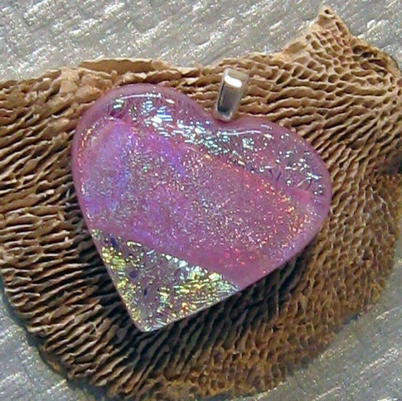 Pink Dichroic Heart Pendant, Fused Glass Heart, Fused Glass Jewelry, Dichroic Jewelry