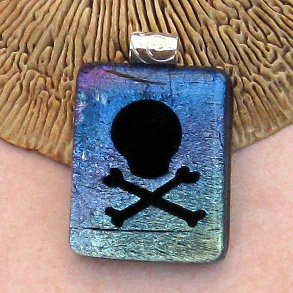 Skull Dichroic Pendant, Fused Glass Jewelry, Etched Skull and Crossbones, Halloween Jewelry