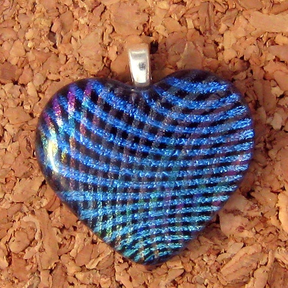 Blue Dichroic Heart Pendant, Fused Glass Heart Pendant, Dichroic Heart, Fused Glass Jewelry, Dichroic Jewelry