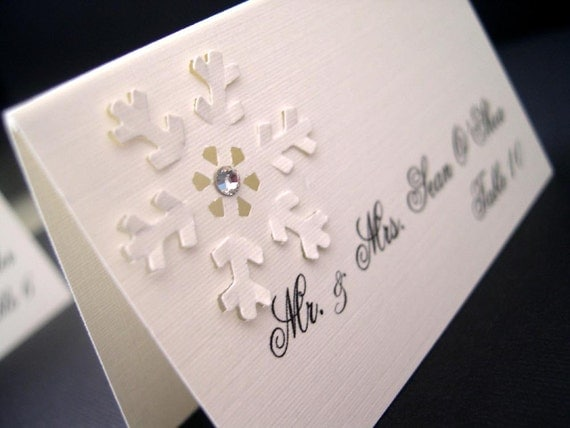 Peaceful Snowfall Place Cards (tent style)- set of 100