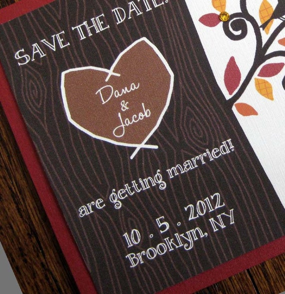 Carved in a Tree - Lovebirds Forever - Set of 100 Save the Dates