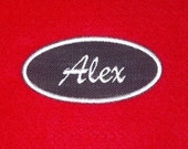Denim oval name patch with white stitching personalized