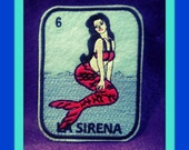 La Sirena Loteria Iron on Patch mermaid