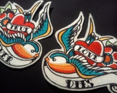 Pair of Swallow iron on patches tattoo inspired  customize them