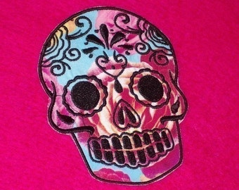 Sugar Skull EMBROIDERED patch 4 roses