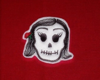 Mini  La Bonita Skull Patch Day of the Dead