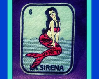 La Sirena Loteria Iron on Patch mermaid