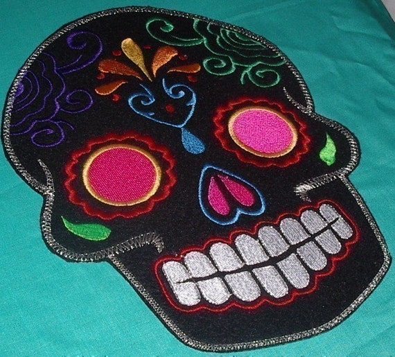 Day of the Dead Sugar Skull EMBROIDERED patch '9'