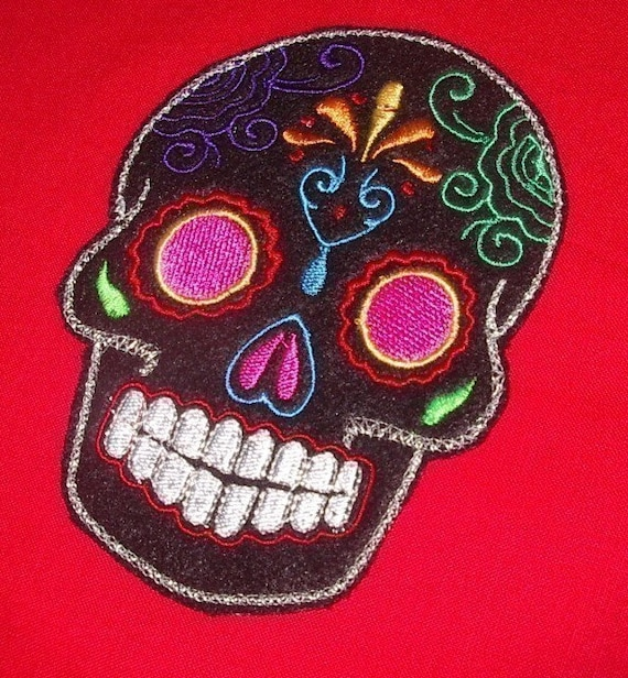 Day of the Dead, Sugar Skull EMBROIDERED patch 8