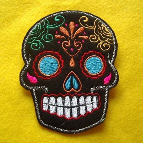 Day of the Dead Sugar Skull Embroidery Patch blue eyes by ...