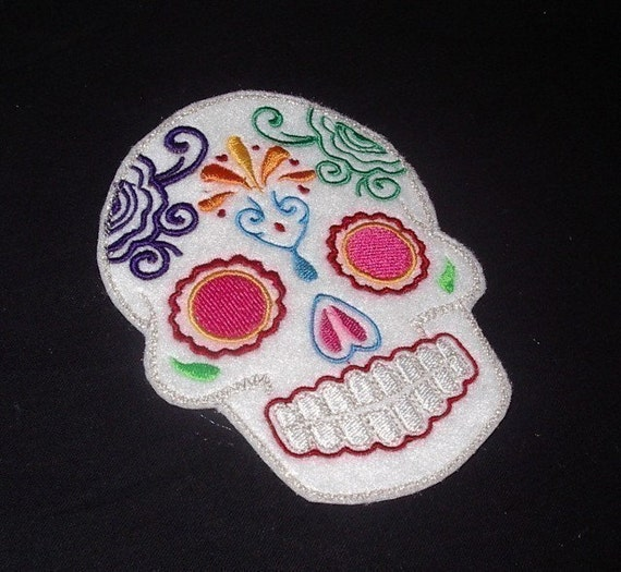 Day of the Dead Sugar Skull EMBROIDERED patch 7