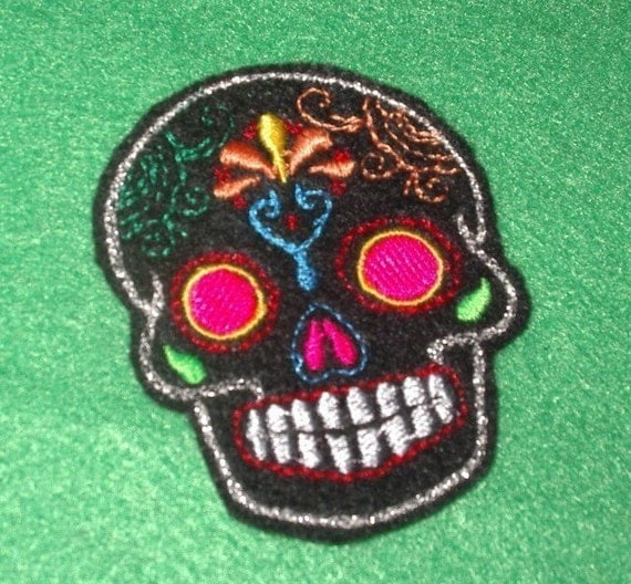 Mini Mexican Sugar Skull embroidery patch