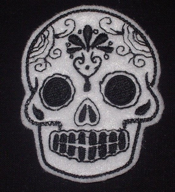 Mini white with black Mexican Sugar Skull embroidery patch