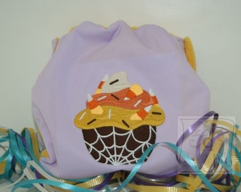 Embroidered Candy Corn Cupcake Waterproof Cloth Diaper Cover