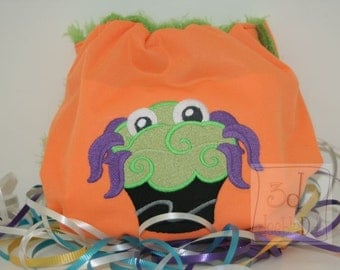Embroidered Monster Cupcake Waterproof Cloth Diaper Cover