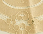 Big Rustic Beige embroidered doily for decor, crafts...centre table