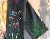 90s Butterflies denim ladies deck pants painted