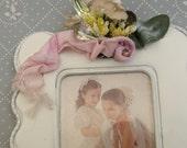 Vintage rhinestones picture frame fridge Magnet