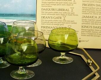 SALE Vintage liquor Colored glasses Set of 8