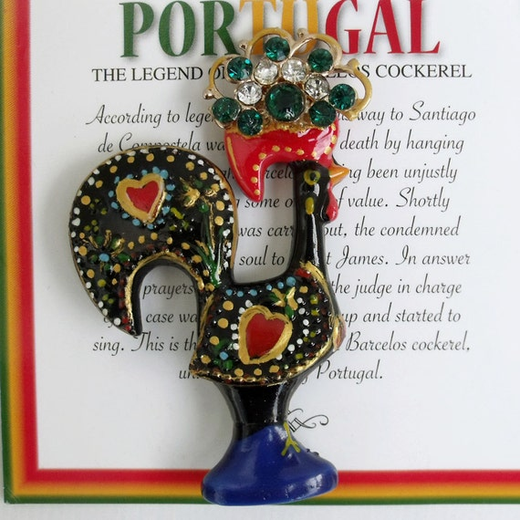 Portugal Barcelos LUCK charm Rooster fridge magnet...rhinestones