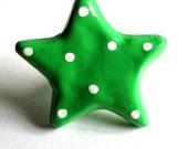 Star Knob - green with white polka dots - ceramic drawer knob
