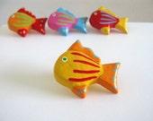 Yellow Fish- Ceramic Drawer Knob
