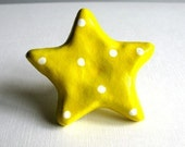 Star Knob - Ceramic Yellow Star with White Polka Dots Knob - drawer pull - childrens knob