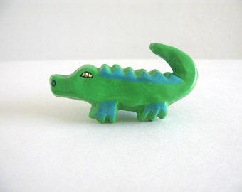 Crocodile Drawer Knob - green alligator ceramic knob for dresser drawers