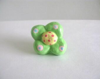 Flower Knob - Green - ceramic dresser drawer knob pull girls room