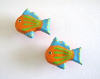 Ceramic Knob - Orange and Turquoise Fish - Furniture Knob